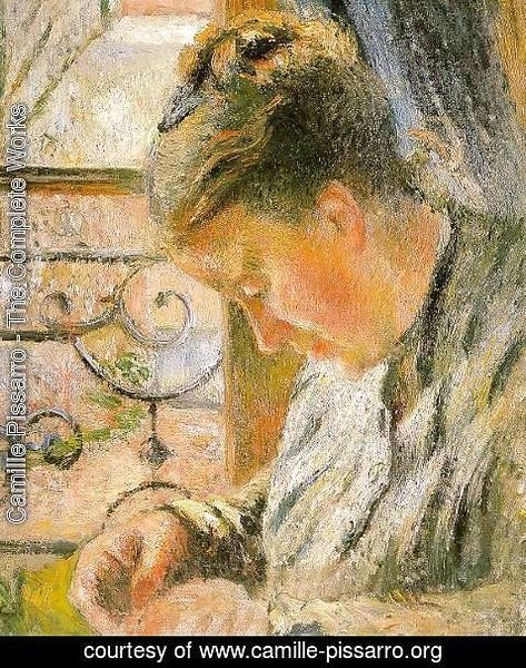 Camille Pissarro - Portrait of Madame Pissarro Sewing near a Window  1878-79