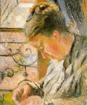 Portrait of Madame Pissarro Sewing near a Window  1878-79