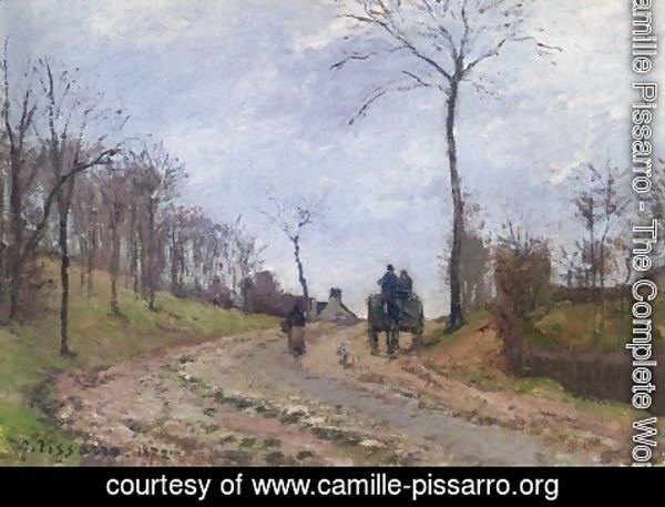 Camille Pissarro - Impression of Winter: Carriage on a Country Road, 1872