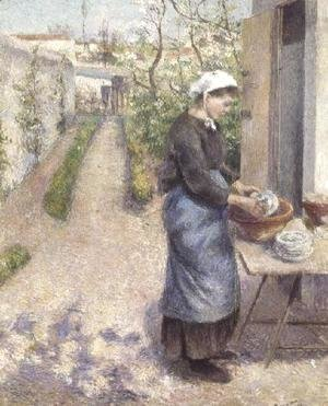 Camille Pissarro - In the Garden at Pontoise: A Young Woman Washing Dishes, 1882