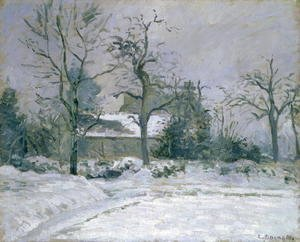 Camille Pissarro - Piette's House at Montfoucault, Snow Effect, 1874