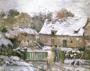 Camille Pissarro - A Farm at Montfoucault- Effect of Snow, 1876