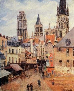 Camille Pissarro - Rue de l'epicerie at Rouen, on a Grey Morning, 1898