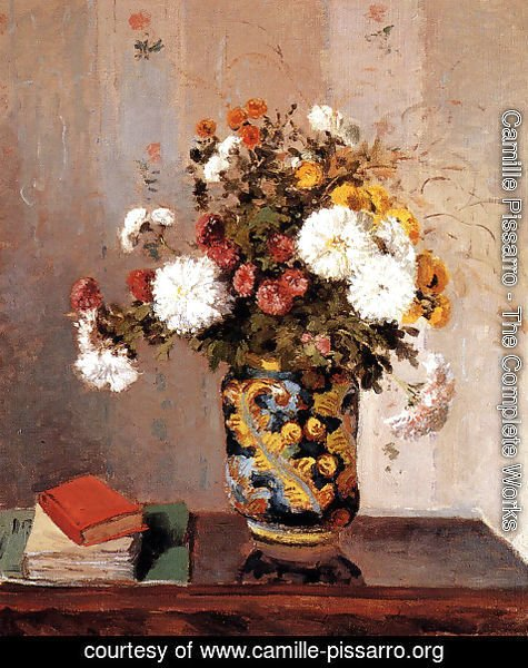 Camille Pissarro - Bouquet of Flowers, Chrysanthemums in a Chinese Vase