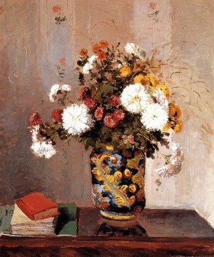 Bouquet of Flowers, Chrysanthemums in a Chinese Vase
