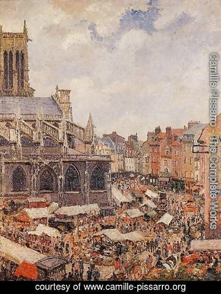 Camille Pissarro - The Market Surrounding the Church of Saint-Jacques, Dieppe, 1901