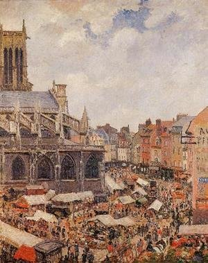 The Market Surrounding the Church of Saint-Jacques, Dieppe, 1901