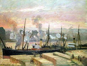 Camille Pissarro - Sunset at Rouen, Boats Unloading Wood, 1896