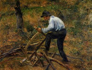 Camille Pissarro - Pere Melon Sawing Wood, Pontoise, 1879