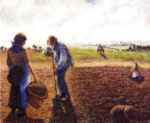 Camille Pissarro - Peasants in the Field, Eragny, 1890