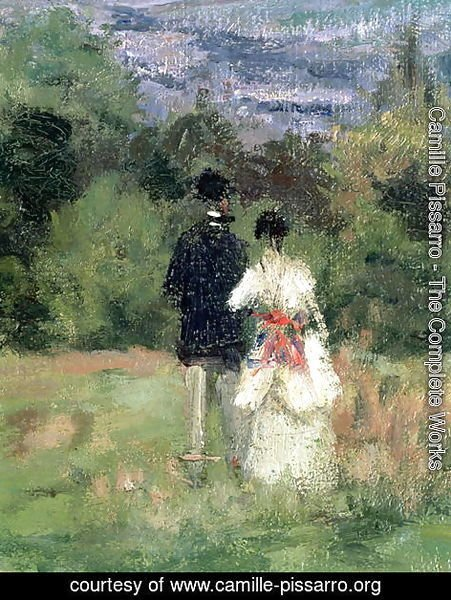 Camille Pissarro - Louveciennes, detail of lovers