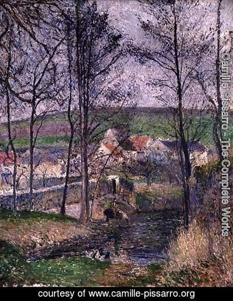 Camille pissarro the complete works the banks of the viosne at osny in grey weather winter - Osny code postal ...