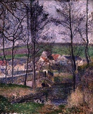 Camille Pissarro - The Banks of the Viosne at Osny in Grey Weather, Winter, 1883