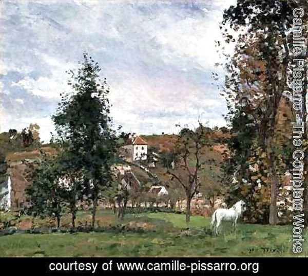 Camille Pissarro - Landscape With A White Horse In A Field, L'Ermitage, 1872
