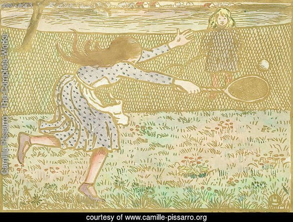 Girls Playing Tennis, from 'Woodcuts in Line and Colours',  1891