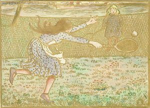 Camille Pissarro - Girls Playing Tennis, from 'Woodcuts in Line and Colours',  1891