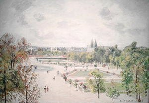 Camille Pissarro - The Garden of the Tuileries, Morning, Grey Weather, 1899
