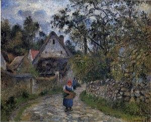 Camille Pissarro - The village path - thatched cottages in Valhermeil, 1880