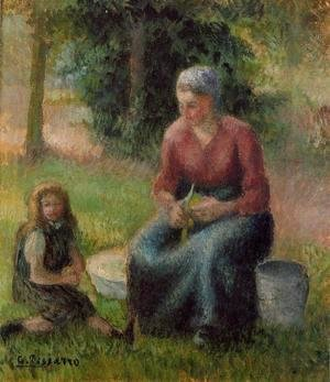 Camille Pissarro - Peasant Woman and her Little Girl, c.1893