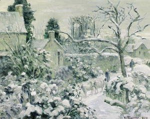 Camille Pissarro - Effect of Snow with Cows at Montfoucault, 1874