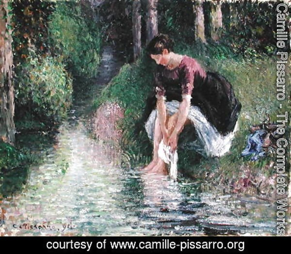 Camille Pissarro - Woman Washing Her Feet in a Brook, 1894