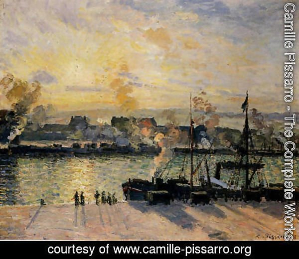 Camille Pissarro - Sunset, The Port of Rouen (Steamboats) 1898