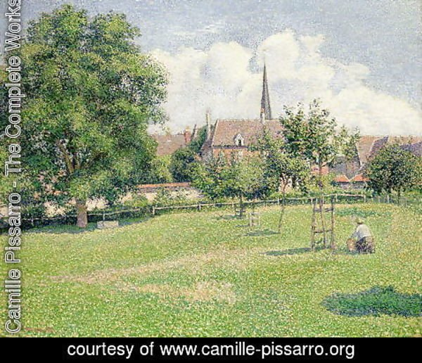 Camille Pissarro - The House of the Deaf Woman and the Belfry at Eragny, 1886