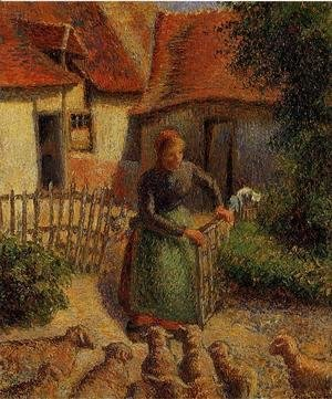 Camille Pissarro - Shepherdess Bringing in Sheep, 1886