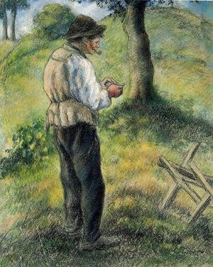 Camille Pissarro - Father Melon Lighting his Pipe, c.1879