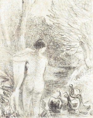Camille Pissarro - Nude with Swans, c.1895