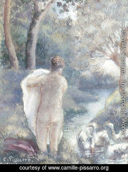 Camille Pissarro - Nude with Swans, c.1895 2
