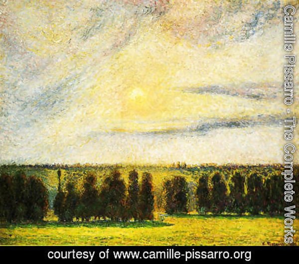 Camille Pissarro - Sunset at Eragny, 1890