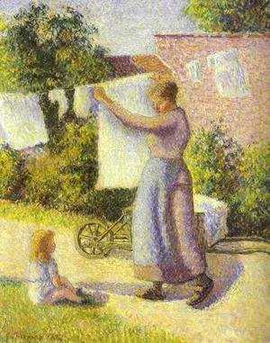 Camille Pissarro - Woman Hanging up the Washing, 1887