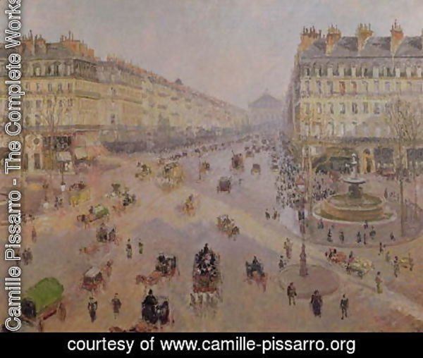 Camille Pissarro - The Avenue de L'Opera, Paris, Sunlight, Winter Morning, c.1880