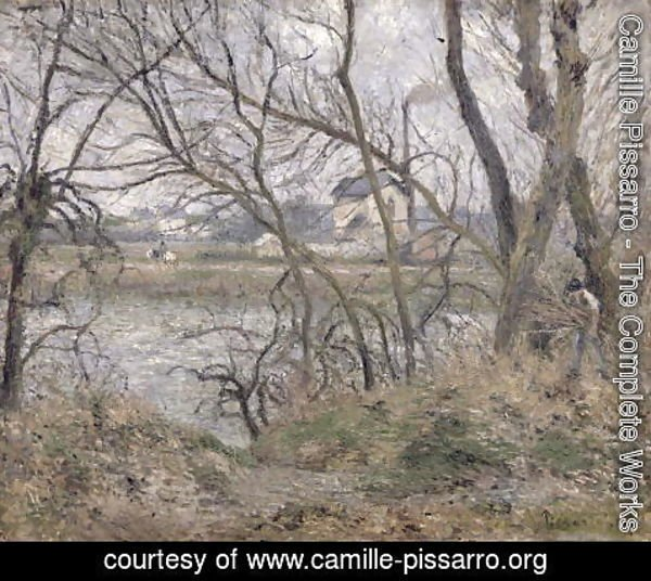 Camille Pissarro - The Banks of the Oise, near Pontoise, Cloudy Weather, 1878