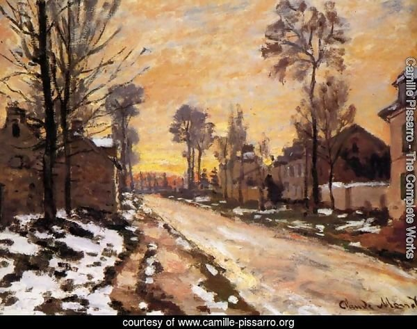 Road at Louveciennes, Melting Snow, Sunset
