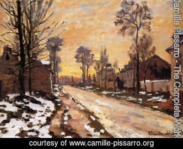 Camille Pissarro - Road at Louveciennes, Melting Snow, Sunset