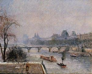 Camille Pissarro - The Louvre - Morning, Snow Effect