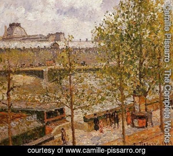Camille Pissarro - The Louvre, Morning, Sun, Quai Malaquais