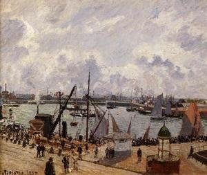 Camille Pissarro - The Inner Harbor, Le Havre - Morning Sun, Rising Tide