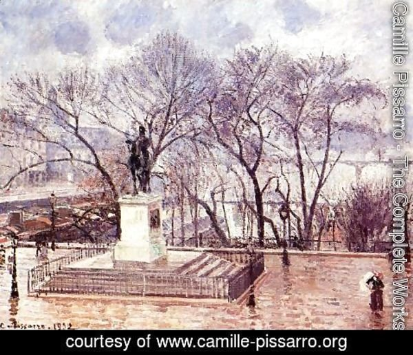 Camille Pissarro - The Raised Terrace of the Pont-Neuf, Place Henri IV: Afternoon, Rain