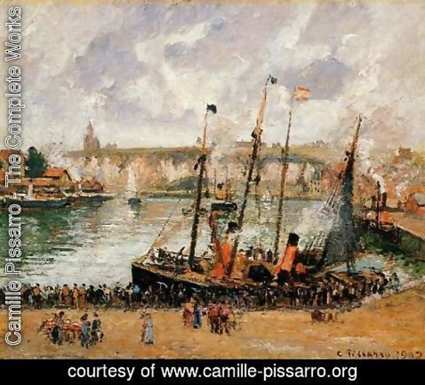 Camille Pissarro - The Inner Harbor, Dpeppe: High Tide, Morning, Grey Weather