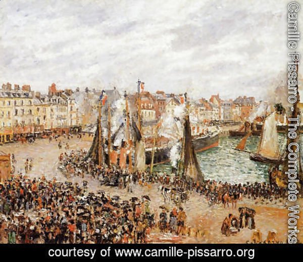 Camille Pissarro - The Fishmarket, Dieppe: Grey Weather, Morning