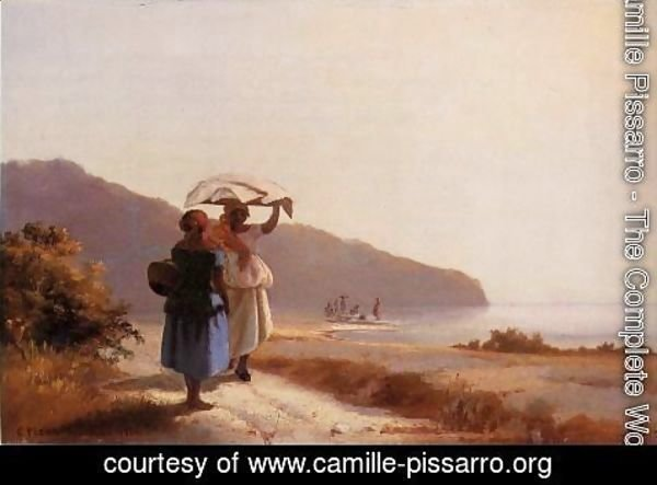 Camille Pissarro - Two Woman Chatting by the Sea, St. Thomas