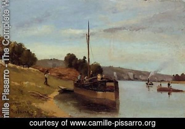 Camille Pissarro - Barges at Le Roche Guyon