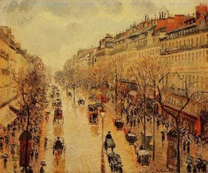 Camille Pissarro - Boulevard Montmartre: Afternoon, in the Rain