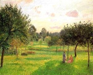 Camille Pissarro - Two Women in a Meadow: Sunset at Eragny