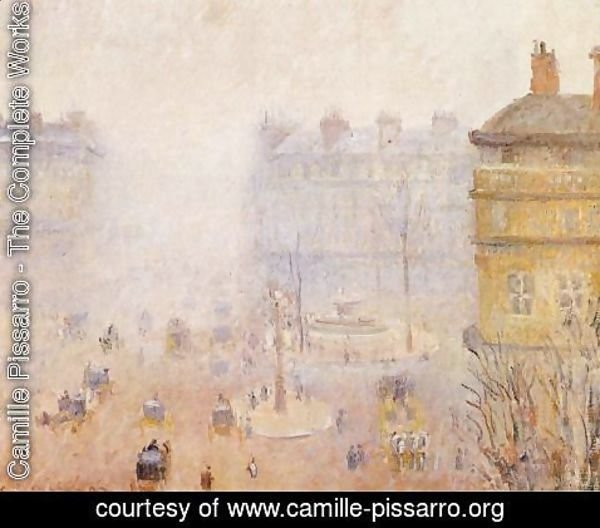 Camille Pissarro - Place du Theatre Francais: Foggy Weather