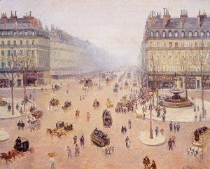 Camille Pissarro - Avenue de l'Opera, Place du Thretre Francais: Misty Weather