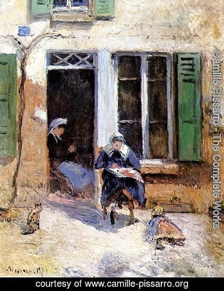 Camille Pissarro - Woman and Child Doing Needlework